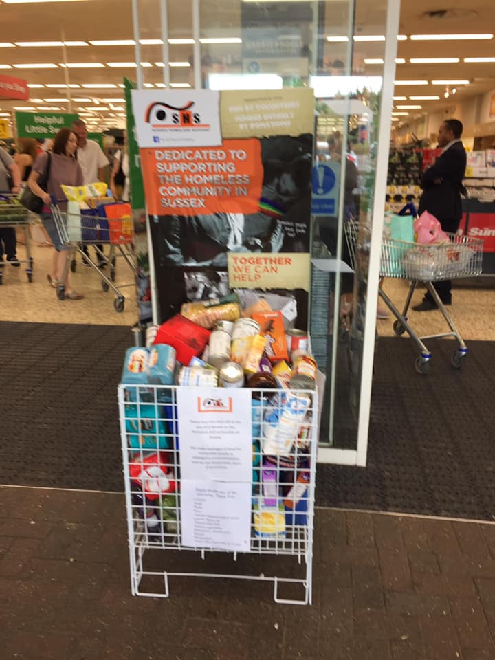 SHS food collection basket at Tesco Burgess Hill